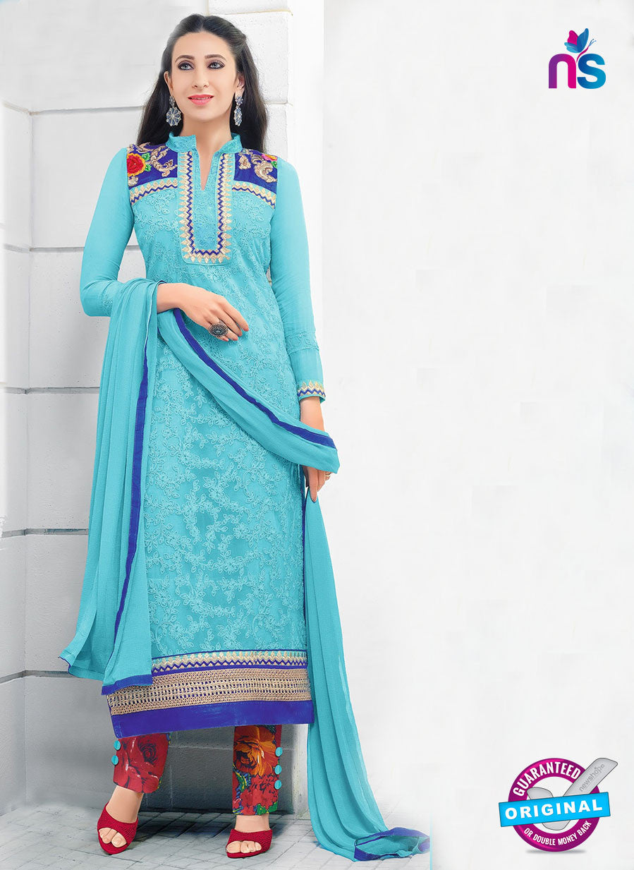 SC 12945 SkyBlue and Red Net with Georgette Party Wear Straight Suit