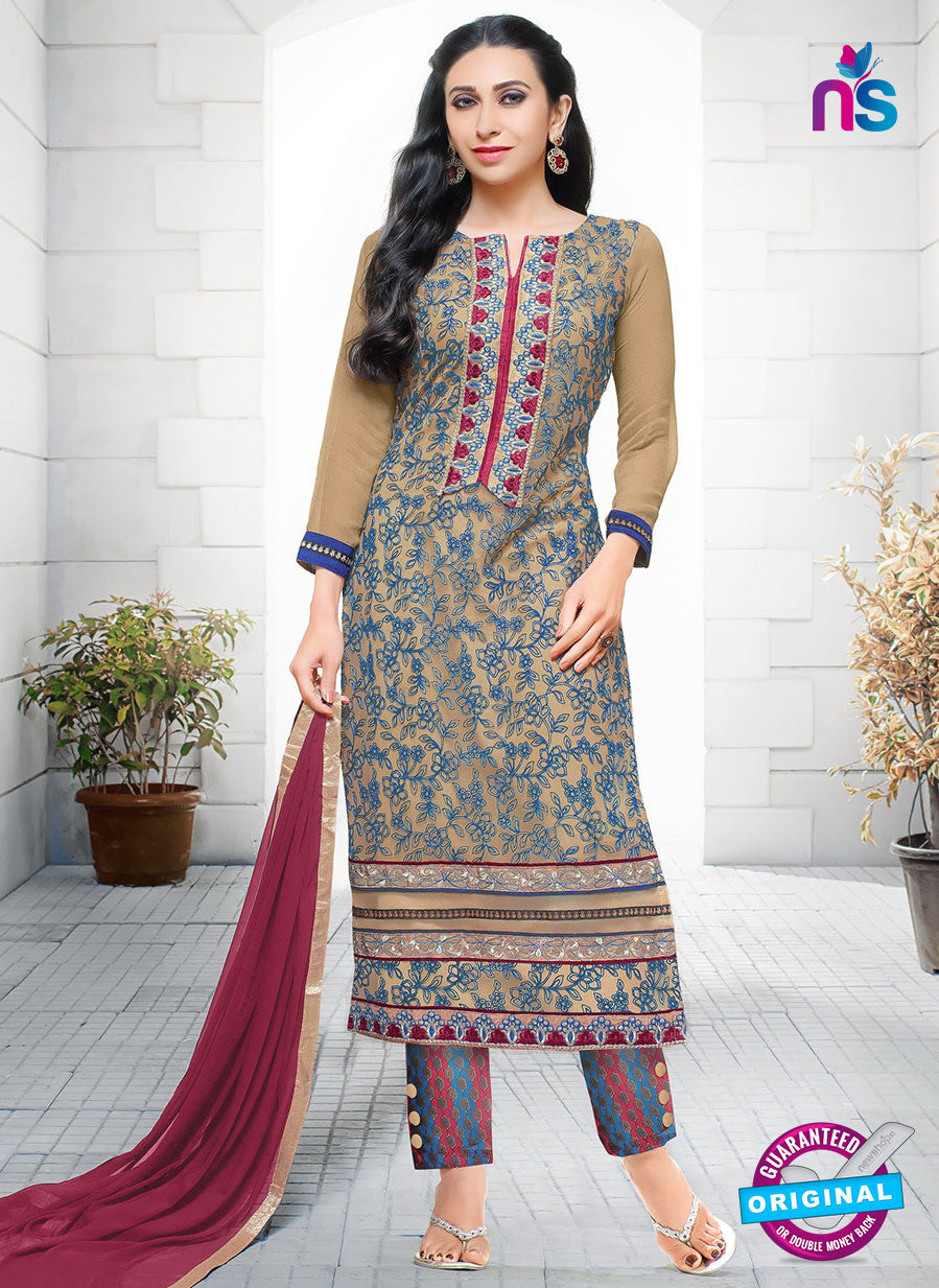 SC 12952 Brown, Blue and Maroon Net with Georgette Party Wear Straight Suit