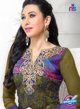 SC 12943 Mehandi Green and Purple Net with Georgette Party Wear Straight Suit