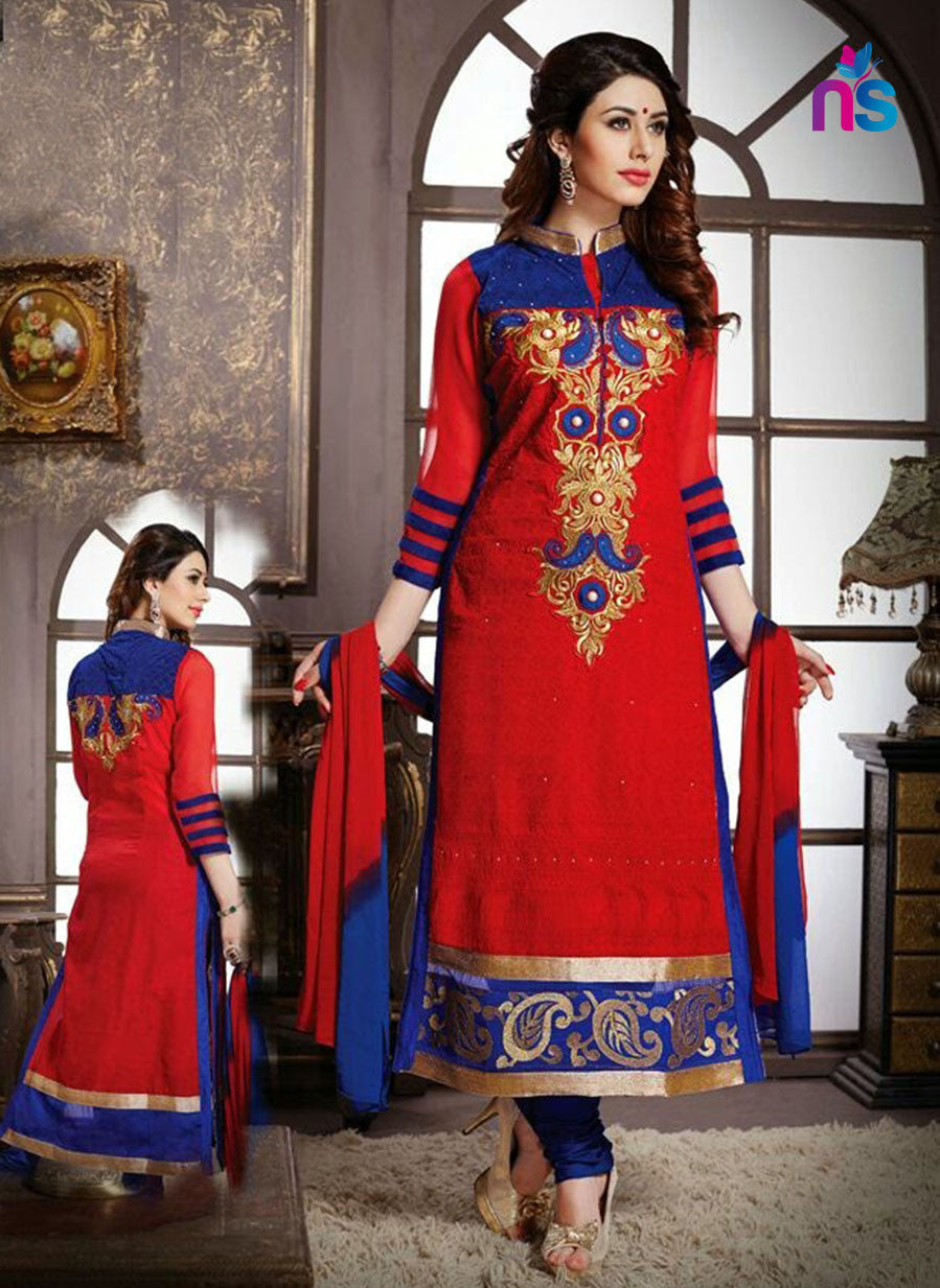 NS11234 Red and Blue Pure Cotton Party Wear Straight Suit
