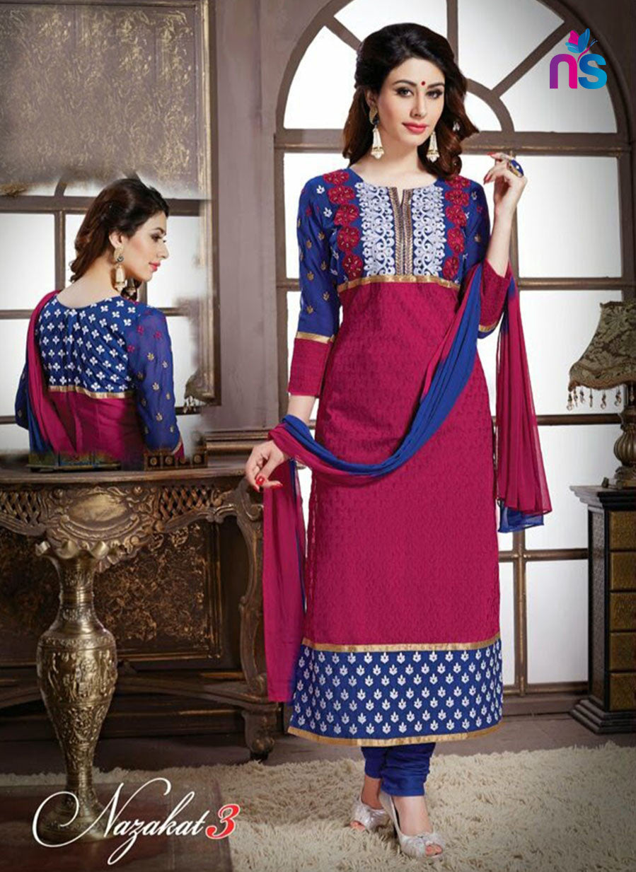 NS11235 Blue and Pink Pure Cotton Party Wear Straight Suit