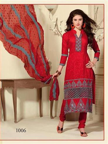 NS11440 Red and SlateGray Cotton Jaqcuard Party Wear Straight Suit