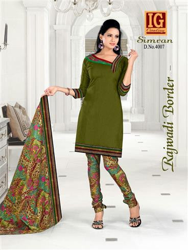 NS11702 DarkOliveGreen and Multicolor Printed Popplin Cotton Daily Wear Chudidar Suit