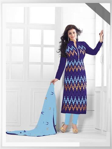 NS11549 D NavyBlue and SkyBlue Party Wear Silk Chanderi Straight Suit