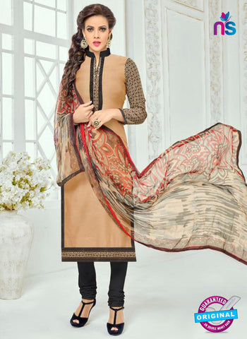 SC 13363 Brown, Beige and Black Chanderi Cotton Designer Long Straight Suit