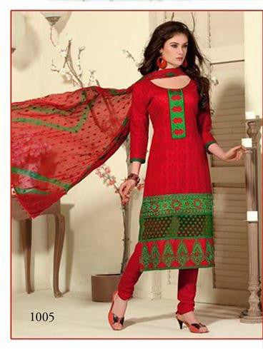 NS11439  Red and Green Cotton Jaqcuard Party Wear Straight Suit