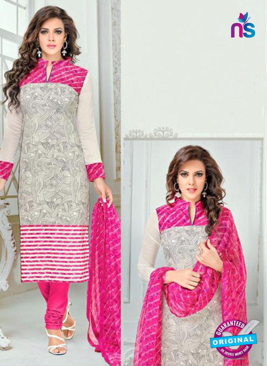SC 13364 White and Pink Chanderi Cotton Designer Long Straight Suit