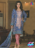 NS 12377 Blue and Pink Embroidered Printed Lawn Party Wear Suit