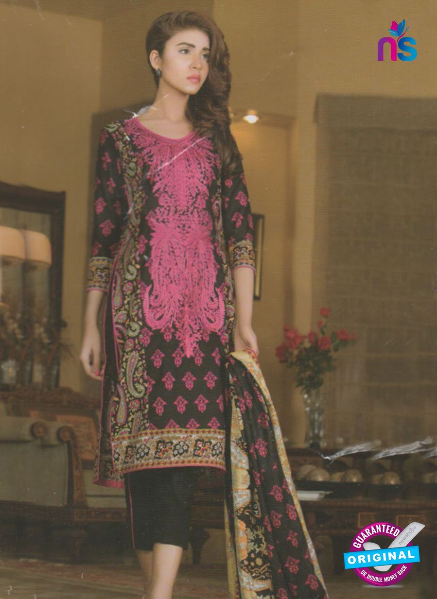 NS 12374 Black and Magenta Embroidered Printed Lawn Party Wear Suit