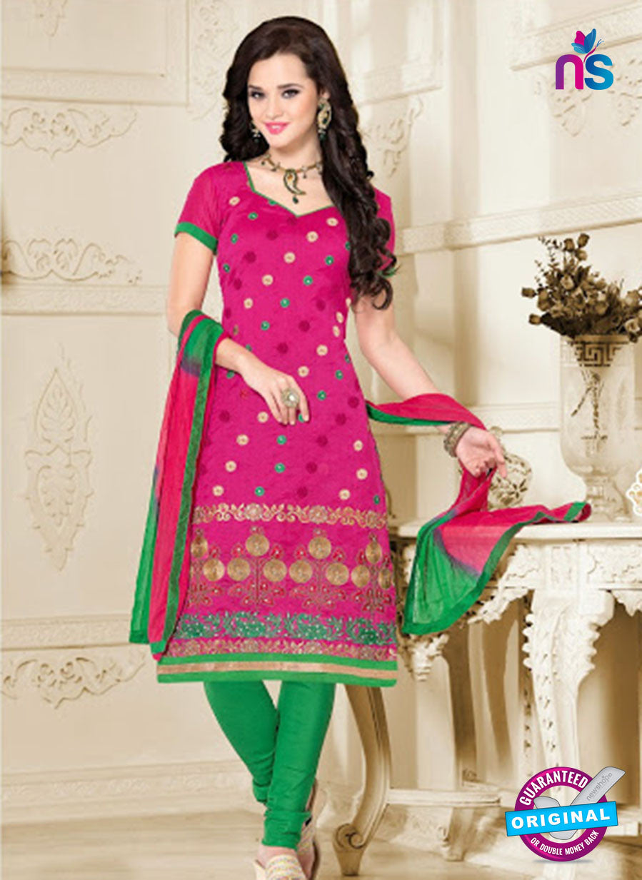 NS12198 Dark Pink and Green Chudidar Suit