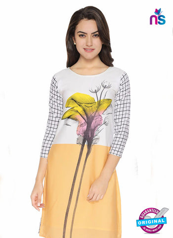 AZ 5189 White and Peach Crepe Formal Kurti