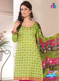 NS12246 Mehandi Green and Red Chudidar Suit