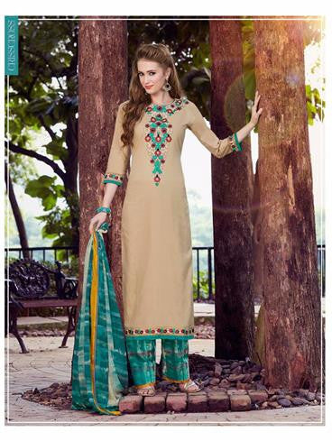 NS11750  Sand Brown and Spring Green Cotton Straight Suit