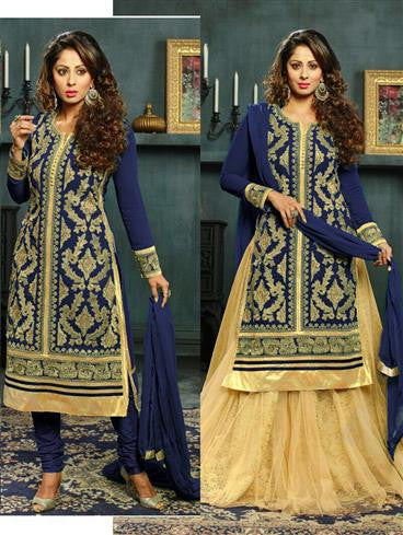 NS11575 B Blue Designer Georgette Straight Suit
