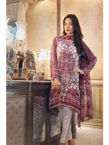 NS11258 Maroon and Offwhite Daily Wear Printed Satin Pakistani Suit
