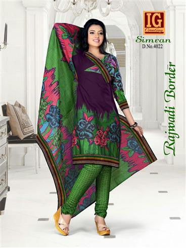 NS11715 Purple and Green Printed Popplin Cotton Daily Wear Chudidar Suit