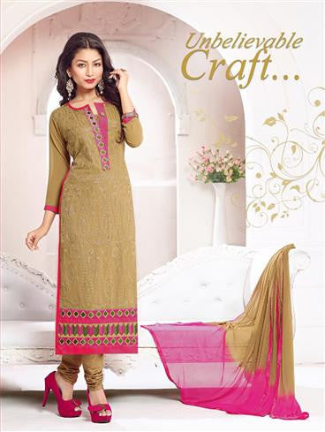 NS11790  Camel Brown and Pink Georgette Straight Suit