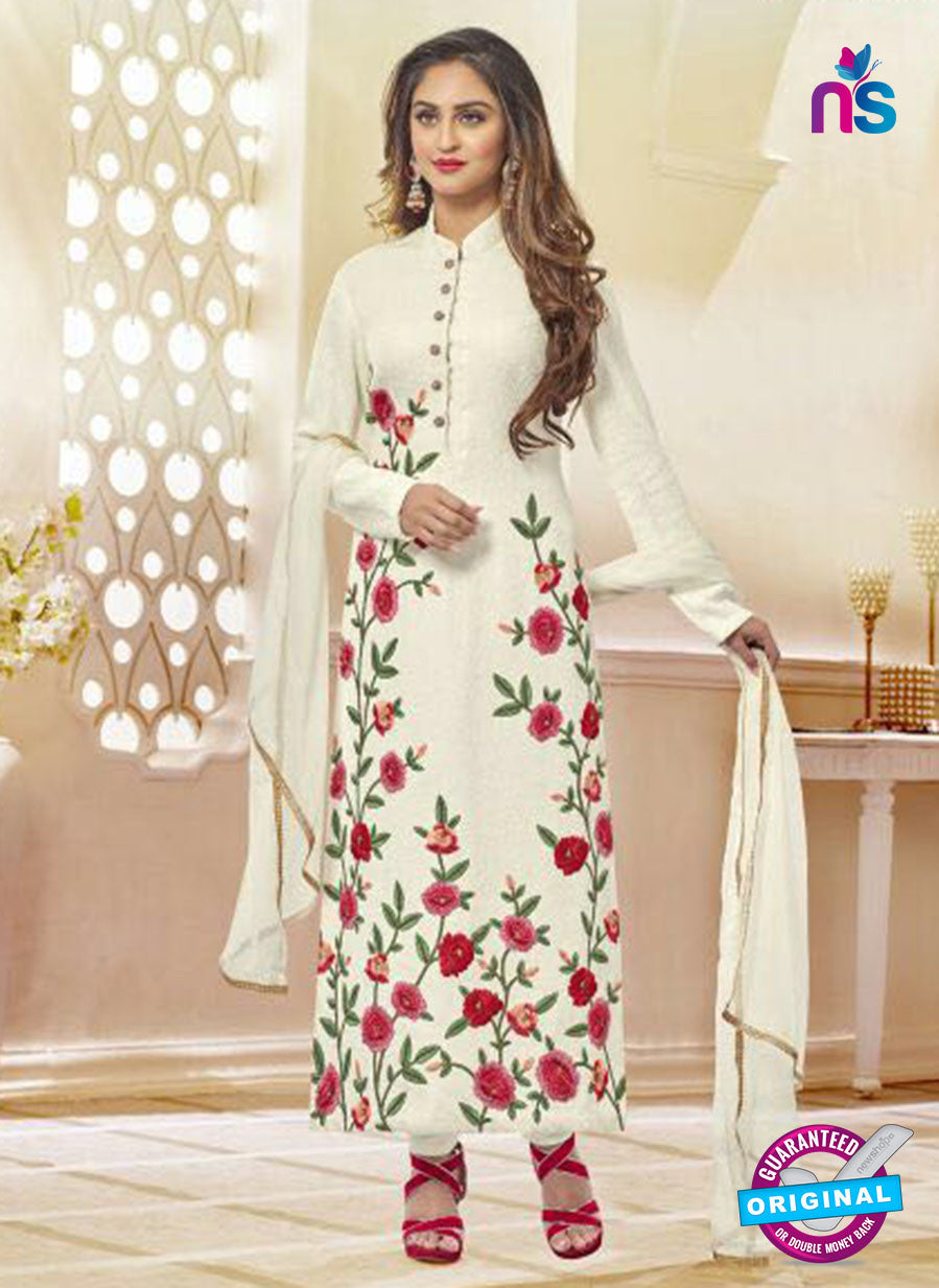 AZ 3655 White Net Pakistani Suit