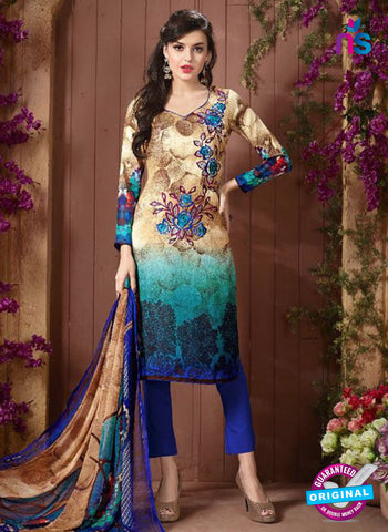 Mayur 8001 A Beige and Blue Designer Pashmina Winter Suit