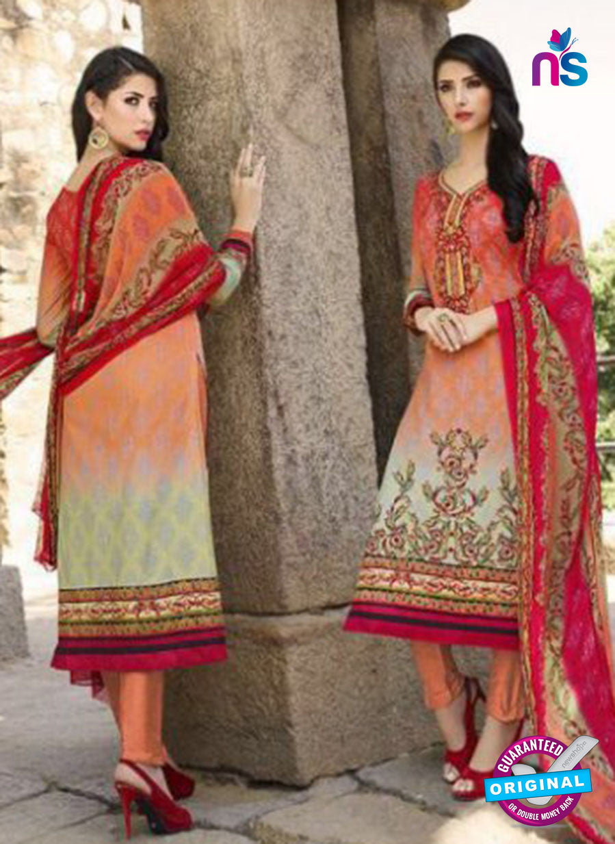 AZ 1078 Multicolor and Orange Lawn Cotton Pakistani Suit