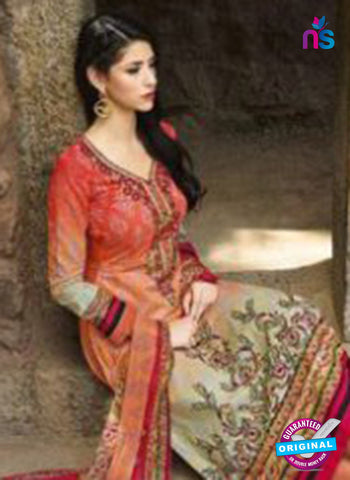 AZ 1078 Peach Lawn Cotton Pakistani Suit