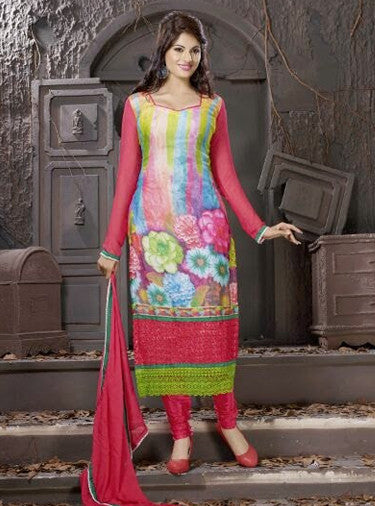 NS10001  Pink & Multi Color Georgette Designer Suit
