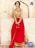 SC 14056 Beige and Red Georgette Exclusive Function Wear Designer Suit