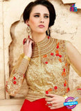 SC 14056 Beige and Red Georgette Exclusive Function Wear Designer Suit Online