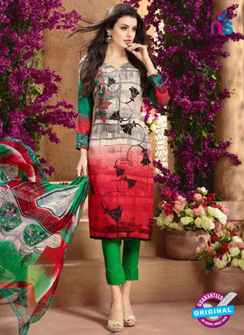 Mayur 8002 A Grey and Red Designer Pashmina Winter Suit