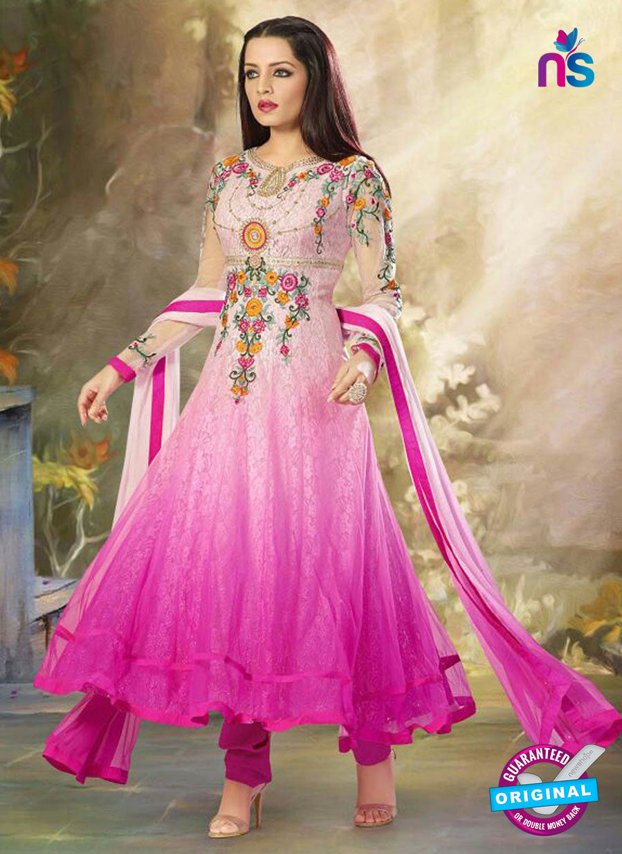 SC 12526 Pink Embroidered Georgette and Net Wedding Wear Anarkali Suit