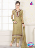 NS10324 Brown Party Wear Embroiderd Georgette Brasso Straight Suit