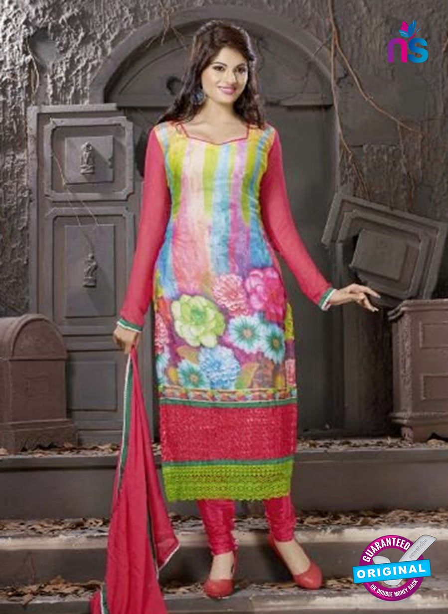SC 12302 Red and Multicolor Georgette Party Wear Straight Suit