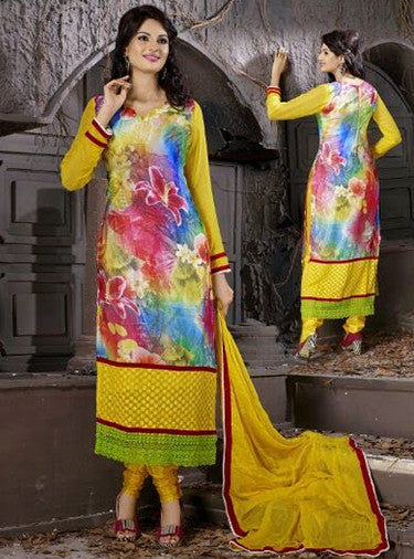 NS10002  Yellow Color Georgette Designer Suit