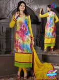 SC 12305 Yellow and Multicolor Georgette Party Wear Straight Suit