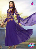 SC 12528 Purple Embroidered Georgette and Net Wedding Wear Anarkali Suit