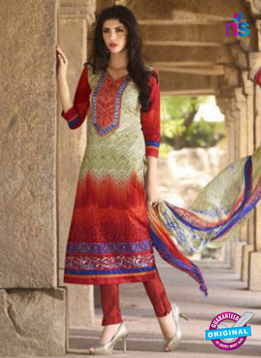 AZ 1080 Beige and Maroon Lawn Cotton Pakistani Suit