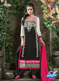 SC 12309 Black and Pink Georgette Straight Suit