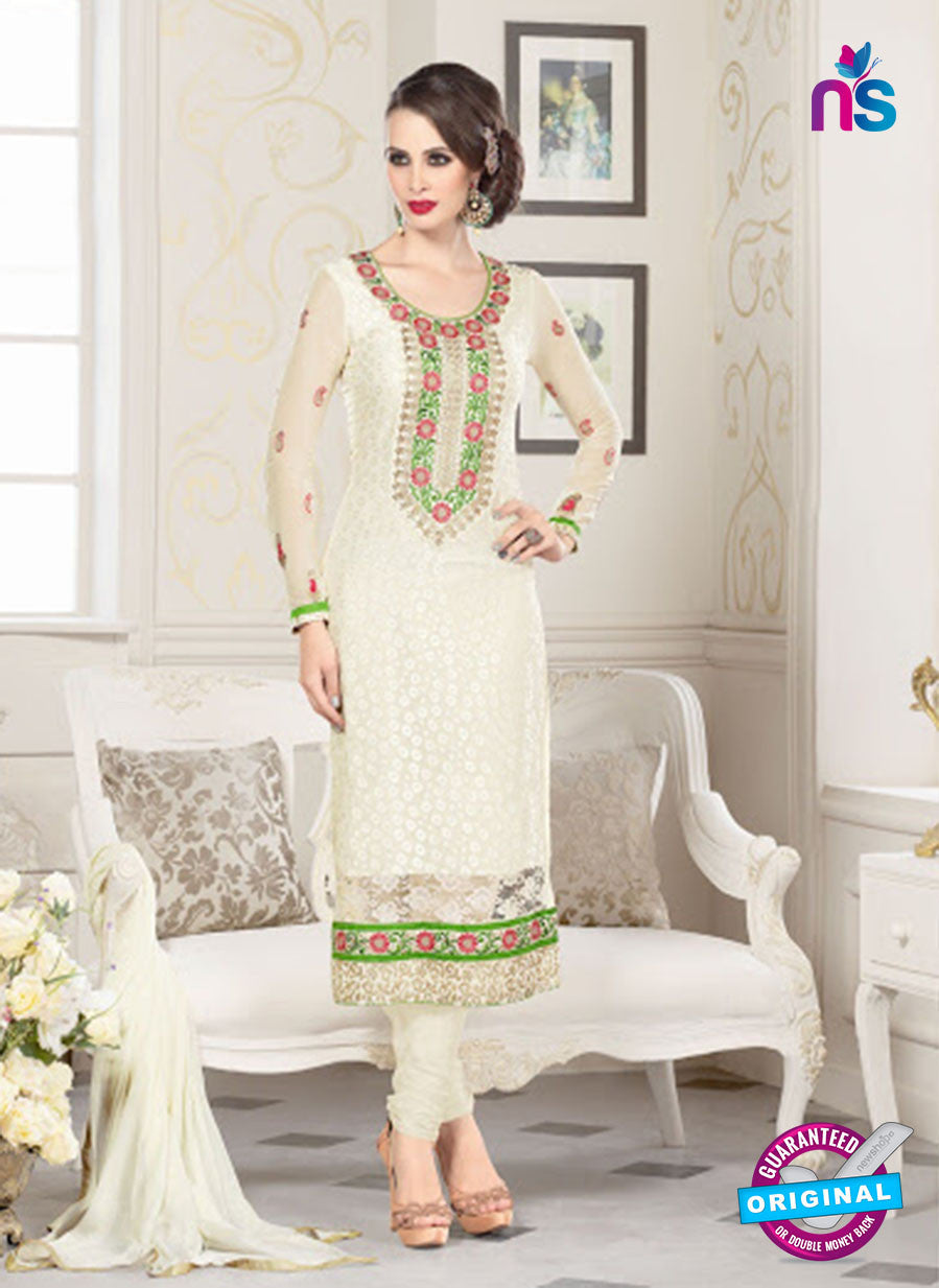 NS10325 White Party Wear Embroiderd Georgette Brasso Straight Suit
