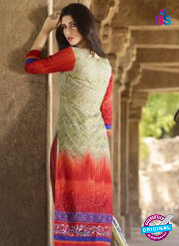 AZ 1080 Beige and Red Lawn Cotton Pakistani Suit