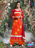 SC 12310 Orange and Red Georgette Straight Suit
