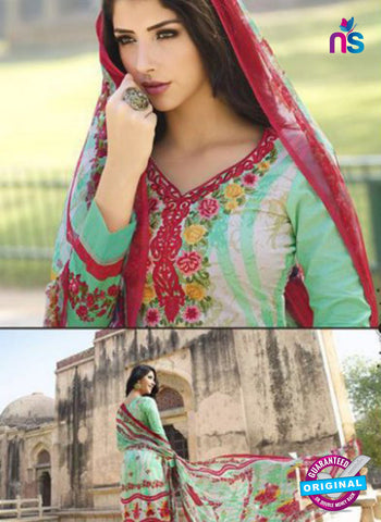 AZ 1081 Sea Green and Red Lawn Cotton Pakistani Suit Online