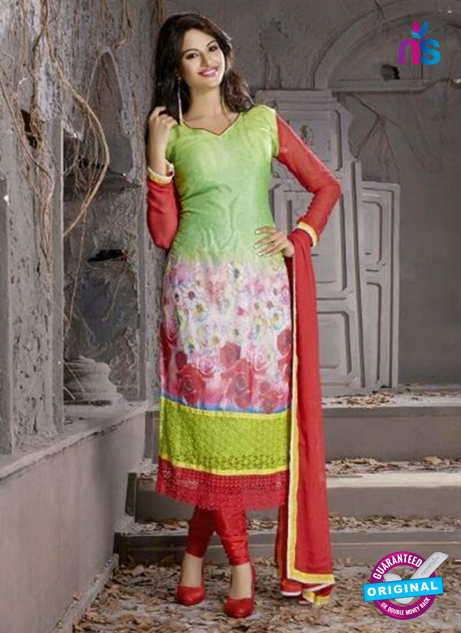 SC 12304 Red and Green Georgette Party Wear Straight Suit