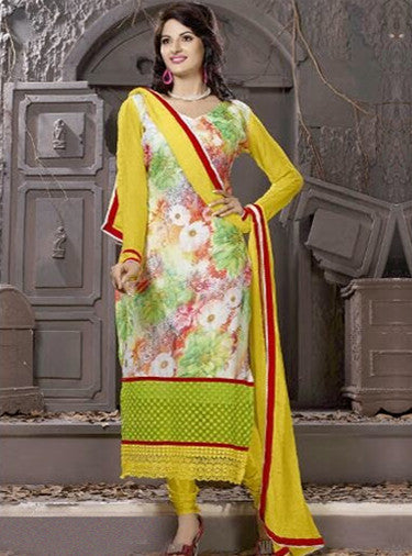 NS10004  Yellow Color Georgette Designer Suit