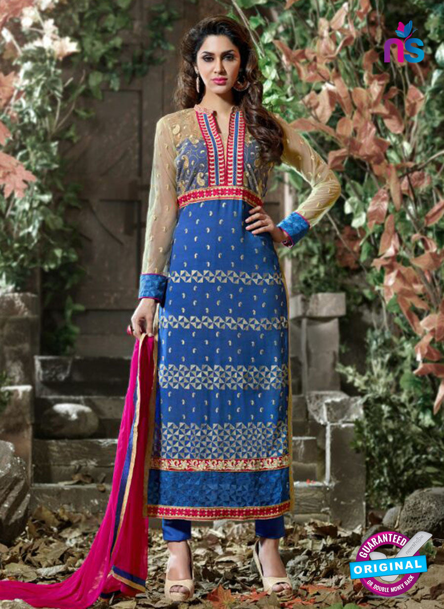 SC 12312 Blue and Magenta Georgette Straight Suit