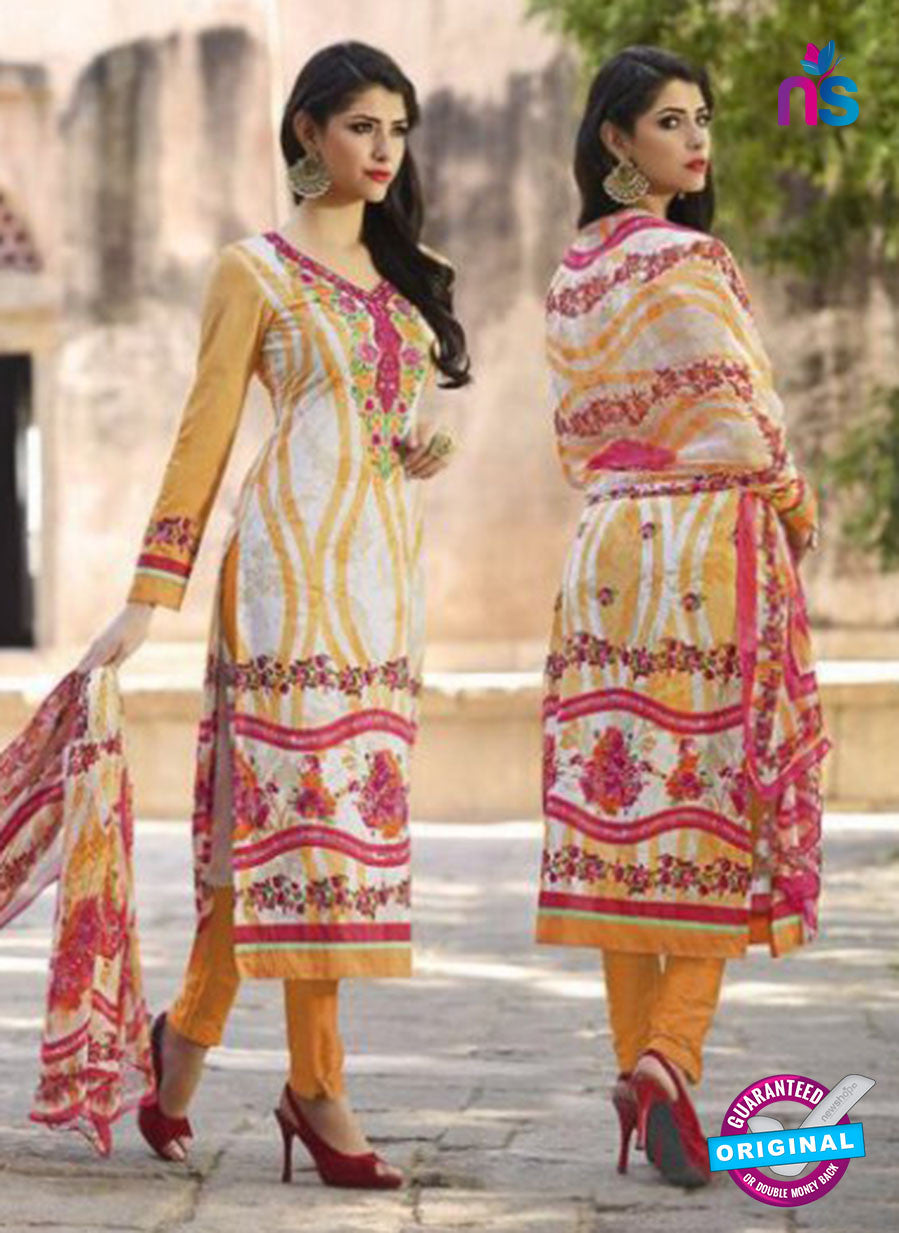 AZ 1082 Orange and Magenta Lawn Cotton Pakistani Suit
