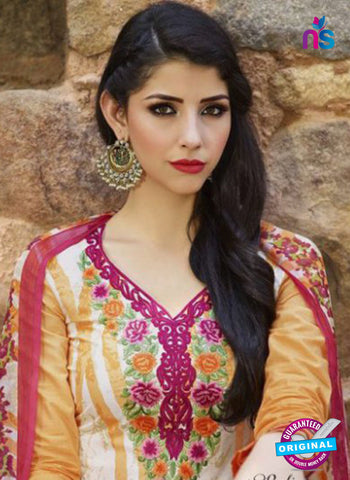 AZ 1082 White and Orange Lawn Cotton Pakistani Suit