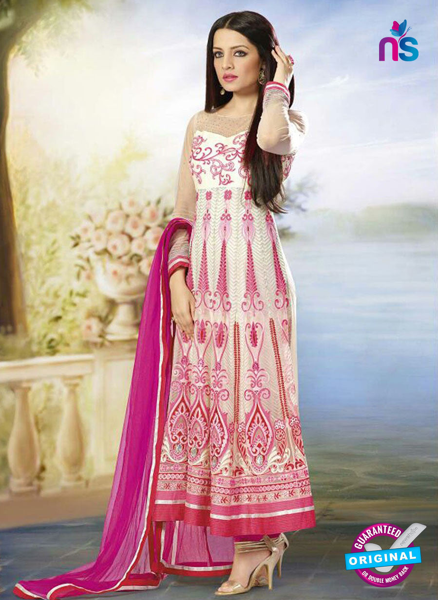 SC 12529 White and Pink Embroidered Georgette and Net Wedding Wear Anarkali Suit