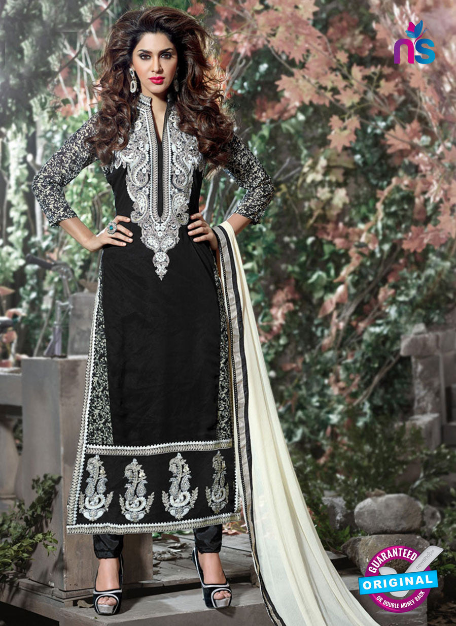 SC 12313 Black and White Georgette Straight Suit