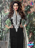 SC 12313 Black and White Georgette Straight Suit Online