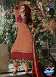 SC 12311 Peach and Red Georgette Straight Suit